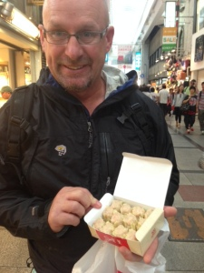 Rob with prawn dumplings