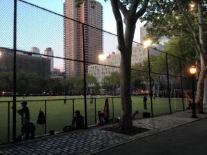 Baseball game sunset