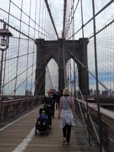 Jan walking Brooklyn bridge